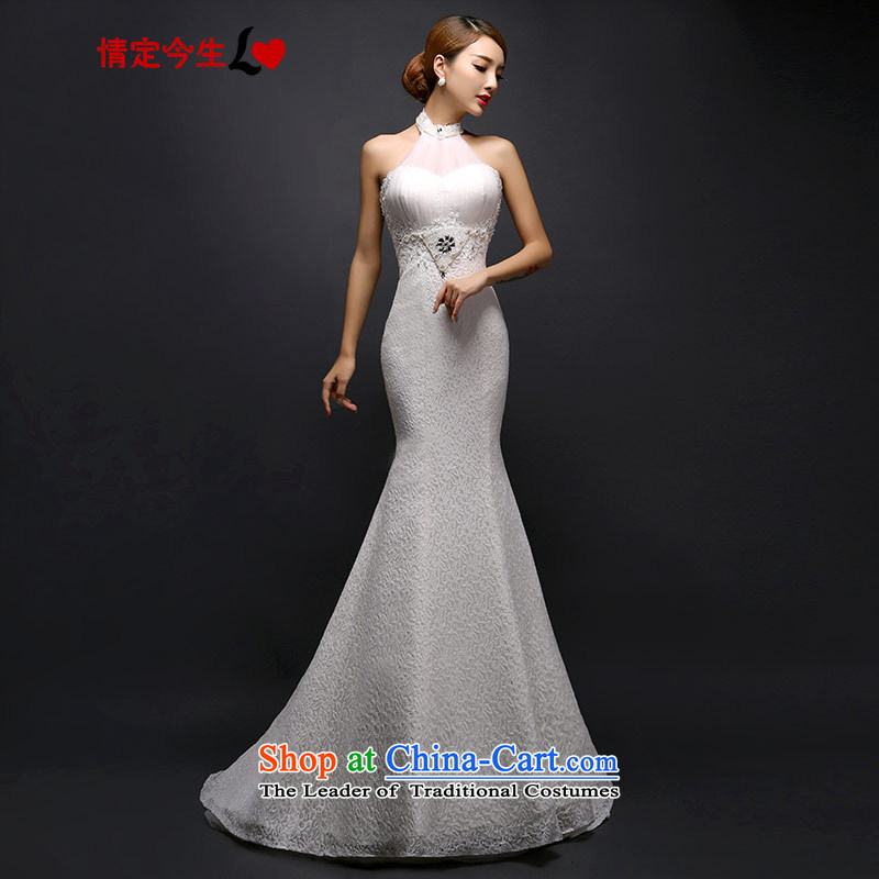 Love of the overcharged by 2015 new wedding dress Korean modern history hang tail wedding lace foutune straps Sau San Crowsfoot White?XL