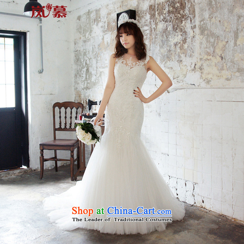 The sponsors of the 2015 New LAURELMARY, Korean elegant round-neck collar lace Foutune of Sau San package and to align the dream crowsfoot trailing back wedding pure white Custom Size (please contact Customer Service)