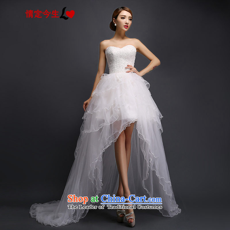 Love of the life of the new 2015 Short long after wedding short stylish and chest straps Sau San wedding dress female white tailor-made exclusively concept