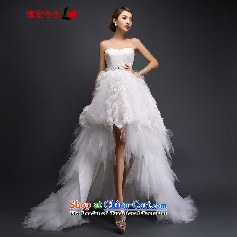 Love of the overcharged Korean sweet princess straps wedding feather pregnant women after long front stub small trailing white�M 2015 autumn and winter.