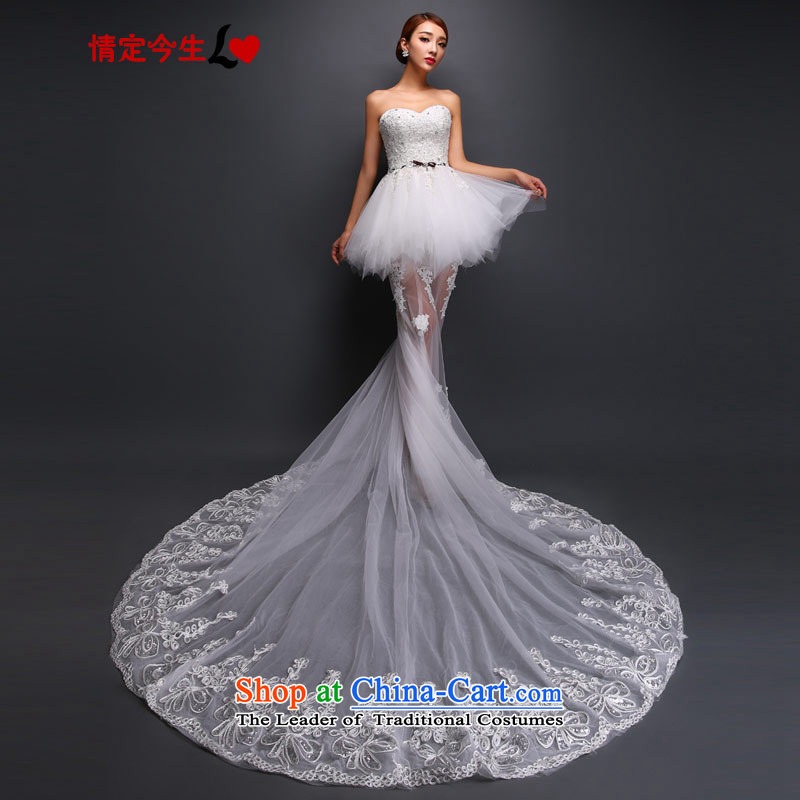 Maximum number of life and Chest Graphic thin lace pregnant women bride wedding dresses long tail White�XL