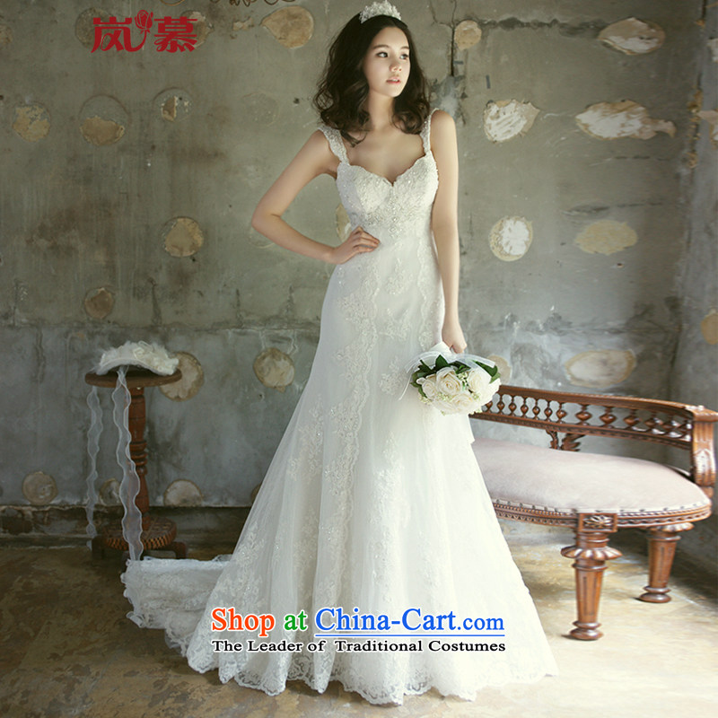 The sponsors of the 2015 New LAURELMARY) western luxury shoulders low chest lace stitching Stitch pearl Foutune of Sau San to align the tail bride wedding ivory Custom Size (please contact Customer Service)