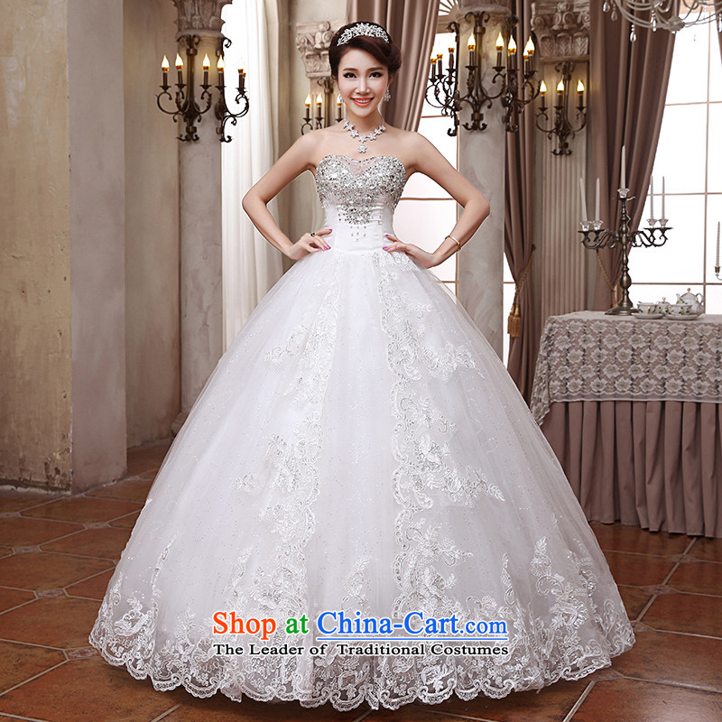 Hei Kaki wedding dresses 2015 New White breast tissue Korean beauty of diamond ornaments and chest straps to wedding ivory聽L