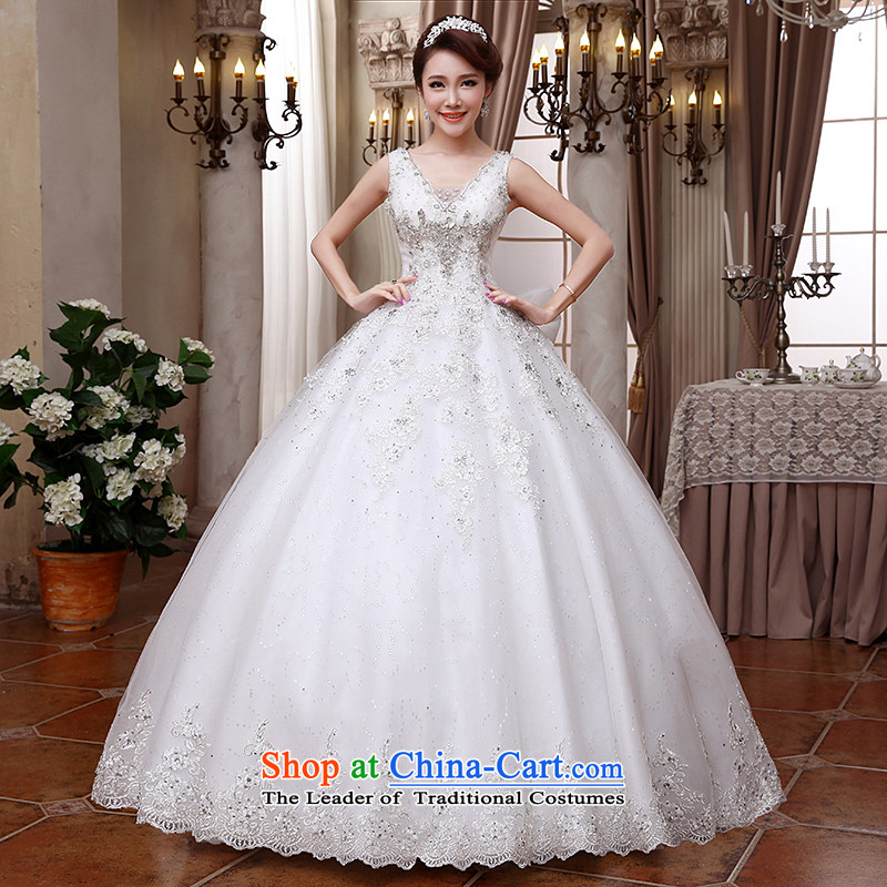 Hei Kaki wedding dresses 2015 new shoulders V-Neck Korean brides bow tie straps to align the diamond wedding ivory?L