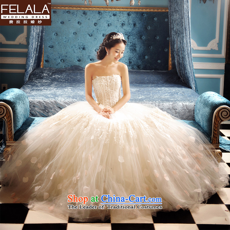 Ferrara in Europe to align the word princess bon bon shoulder and chest wedding dresses 2015 new retro wedding autumn and winter?M(2 feet)