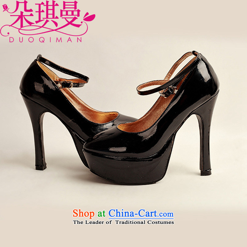 Flower angel girl single shoes Cayman 2014 new varnished leather, smooth sparkling, luxury waterproof shoes marriage bride desktop black shoes, round head high heels聽39