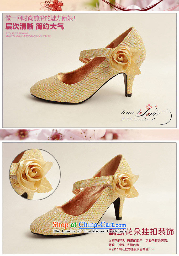 Flower on the gold powder Angel Cayman, Beveled side with single Golden Rose bride marriage shoes, marriage photo album Shoes Show gold聽prices, pictures, 39 brand platters! The elections are supplied in the national character of distribution, so action, buy now enjoy more preferential! As soon as possible.