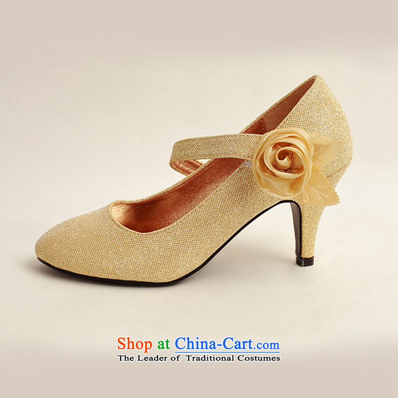 Flower on the gold powder Angel Cayman, Beveled side with single Golden Rose bride marriage shoes, marriage photo album Shoes Show Golden聽Flower-ki (39) has been pressed DUOQIMAN shopping on the Internet