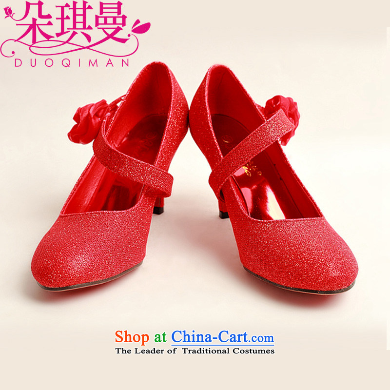 A Cayman New Qi Red Toner, single side red rose bride marriage shoes, performances of marriage photo album shoes Red聽39