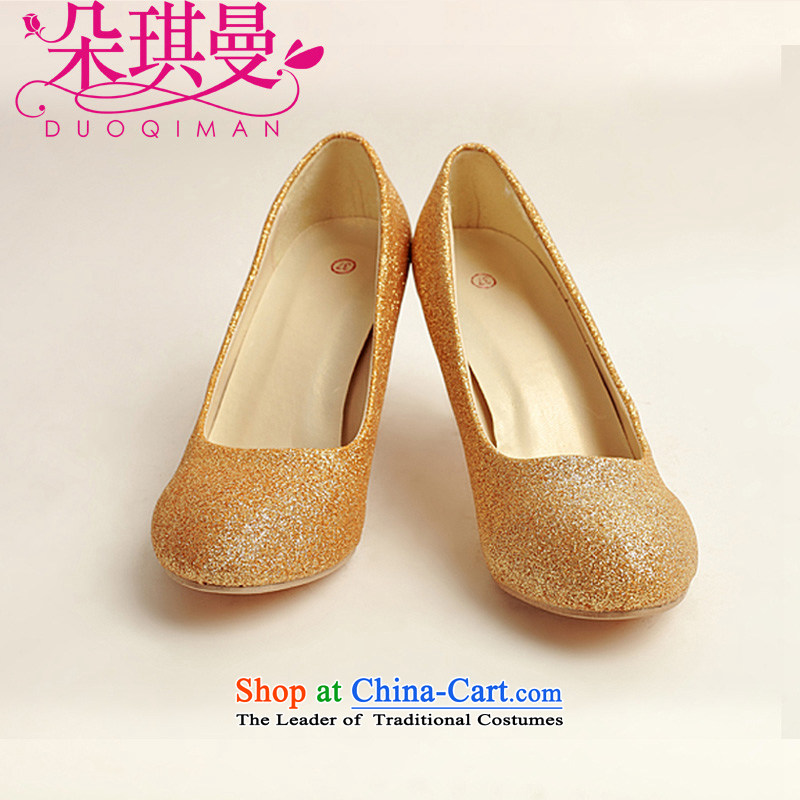 The latte macchiato qi marriage shoes wedding dress shoes shoes bride shoes marriage the the high-heel shoes banquet shoes gold shoe stage performances shoes gold聽39