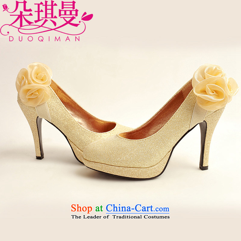 The Korean version of the flower Angel Rom谩n marriage shoes new women's 2014 high-heel shoes brides winter golden wedding shoes gold womens single marriage shoes聽39