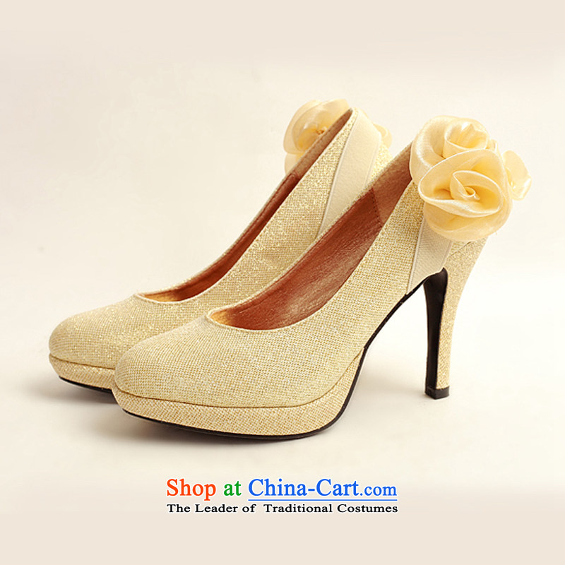 The Korean version of the flower Angel Román marriage shoes new women's 2014 high-heel shoes brides winter golden wedding shoes gold womens single marriage shoes39 Cayman (DUOQIMAN Ki latte macchiato) , , , shopping on the Internet