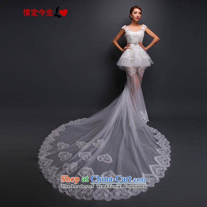 Love of the overcharged Korean word shoulder lace wedding dress autumn graphics thin stylish trailing white tailor-made exclusively concept