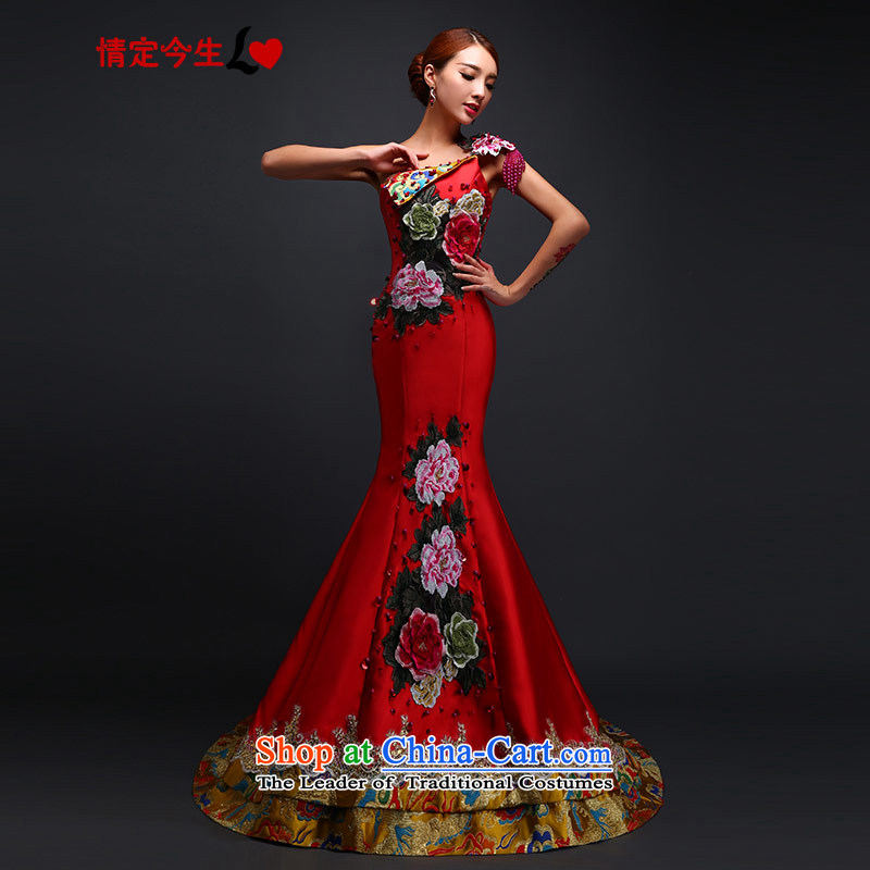 Love of the overcharged retro embroidery dragon robe dress shoulder crowsfoot dress Sau San marriages long tail bows wedding services tailor-made exclusively concept red