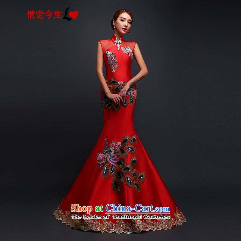 Love of the life of the word marriages retro shoulder crowsfoot tail evening dresses new peacock wedding dress marriage bows services tailor-made exclusively concept red