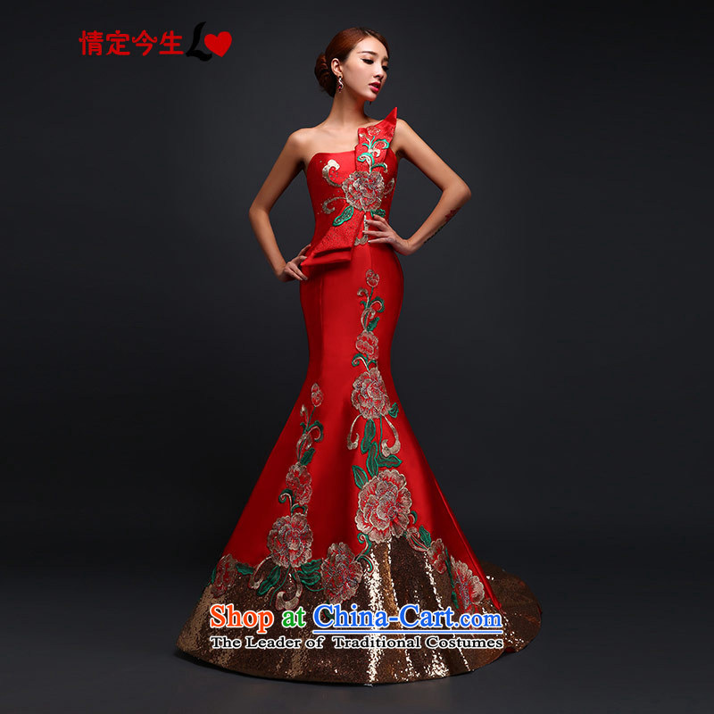 Love of the overcharged by 2015 new bride bows to retro embroidery on chip drag crowsfoot Sau San Mei dress upscale long wedding dress evening dresses wedding red tailor-made exclusively concept