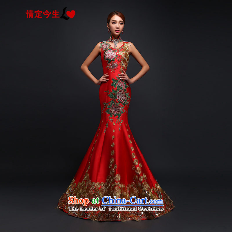 Love of the life of the word bride shoulder tail bows to Sau San crowsfoot water-drilling embroidery dress long wedding dress evening dresses wedding RED?M