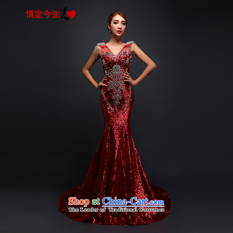Love of the overcharged by 2015 new bride services on-chip bows crowsfoot tail autumn and winter new banquet dress wedding?V-Neck Diamond red?XL