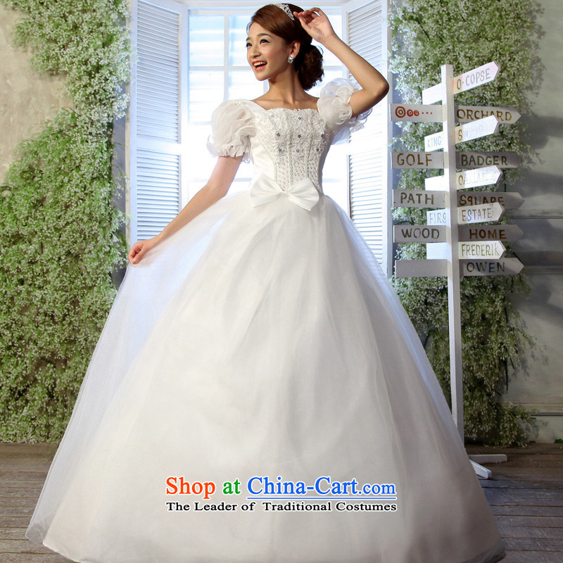 The privilege of serving-leung?2015 new bride Korean Foutune of video thin package shoulder larger mm thick custom wedding dresses?6XL White
