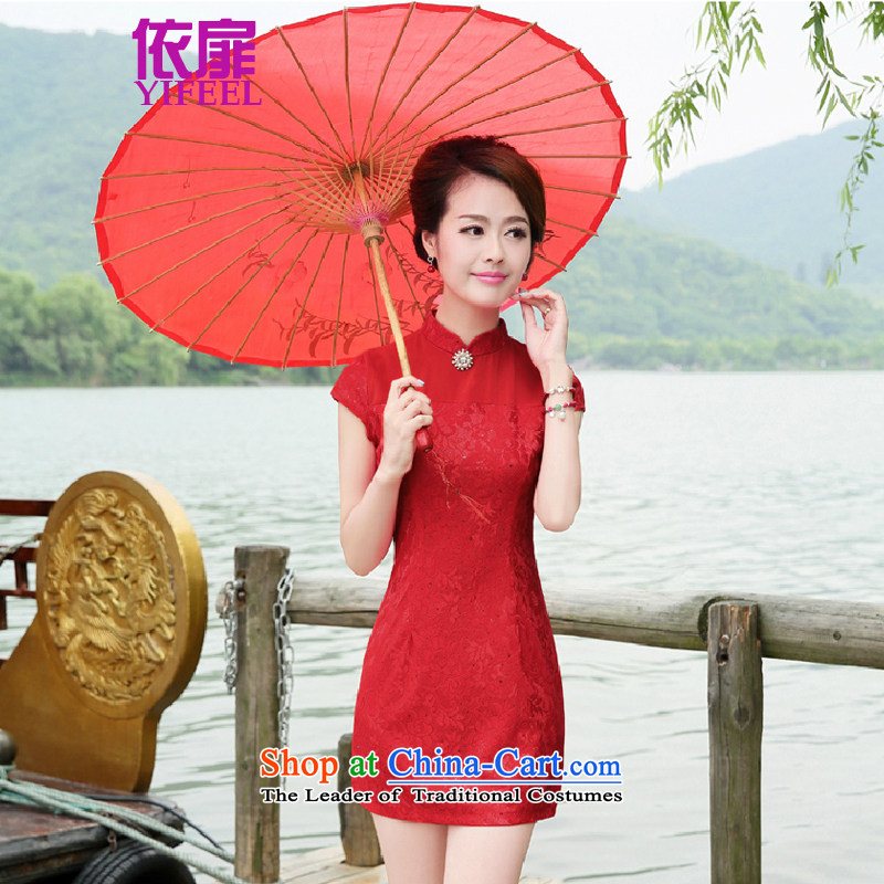 2015 new cheongsam wedding dress red bows services cheongsam dress YF8878 RED?L