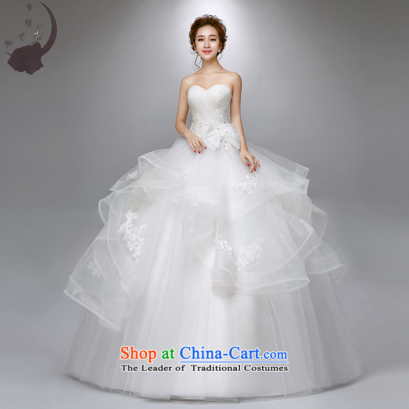 The leading edge of the days of the wedding dresses 2015 new anointed chest lace, Japan and the ROK to align the wedding dress 1758 White XXL 2.3 feet waist