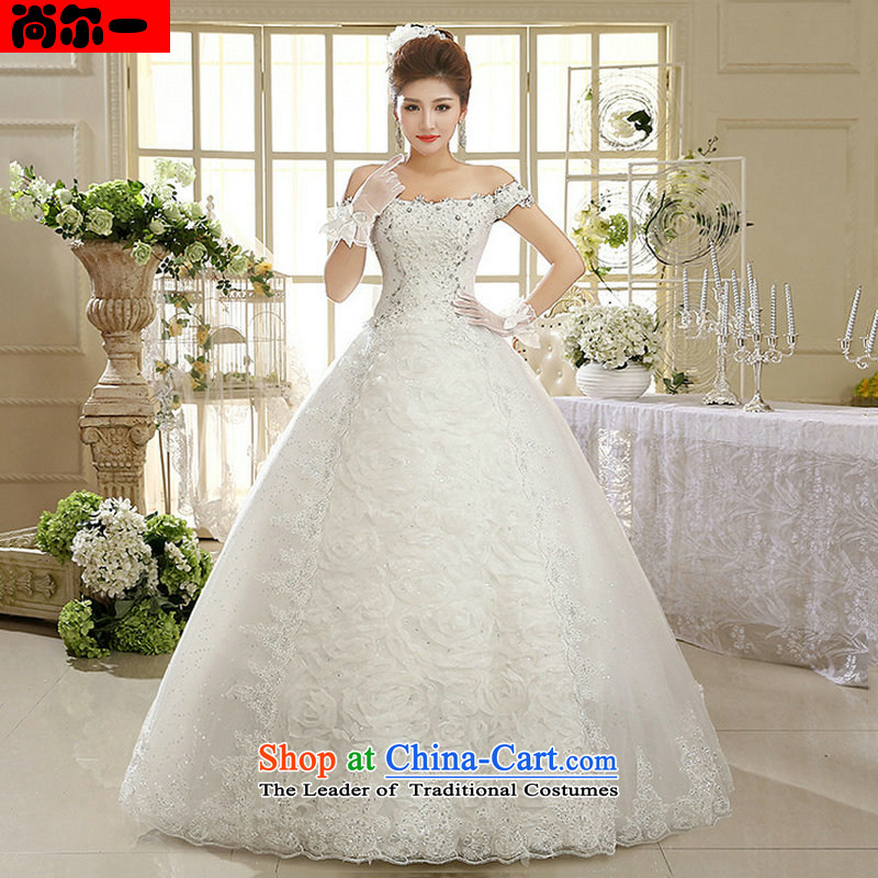 Yet, a white female wedding dresses Korean word shoulder retro lace,?xs1011?White?M