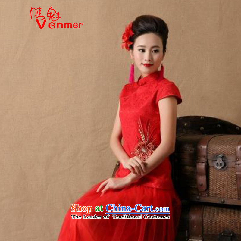 The Director, autumn and winter venmer new stylish women marriages cheongsam dress red ceremony of bows evening dresses and stylish 6646 Red?M