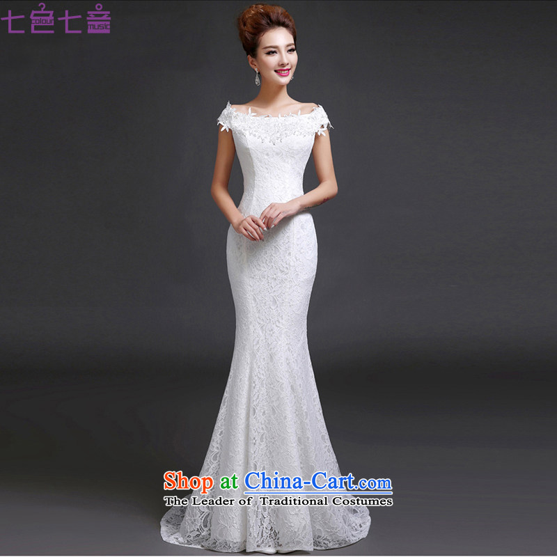 7 Color 7 tone Korean new stylish one 2015 Field shoulder crowsfoot video thin lace retro large tie bride wedding dresses�H046�white�L
