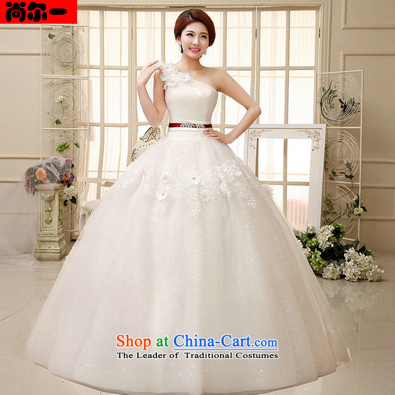 Yet, a wedding dresses shoulder bon bon skirt small Qingxin flowers to align manually stylish wedding xs1020 White?M