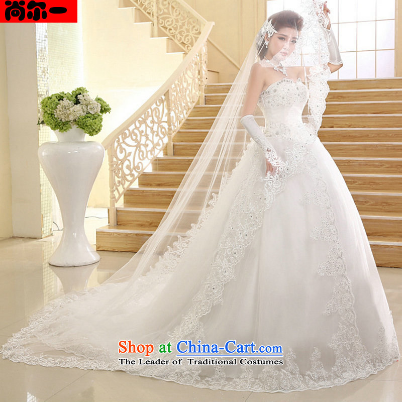 Yet, a wedding dresses new Korean long tail and chest lace tail wedding xs1017 White XXL