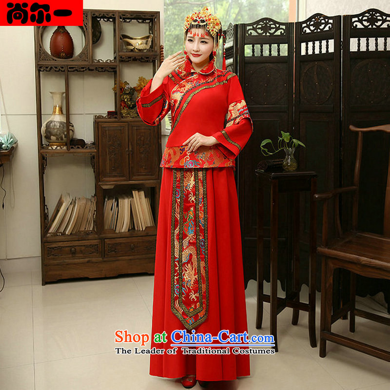 Naoji a retro improved Tang dynasty wedding wedding dress bride wedding dress uniform xs1015 bows red?S