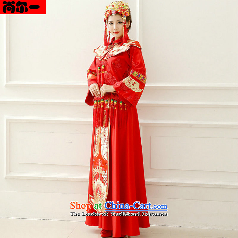 A bride her dress naoji red Chinese Antique bows to marry a long-sleeved Tang Dynasty Sau Wo Service can penetrate xs1013 pregnant women RED M
