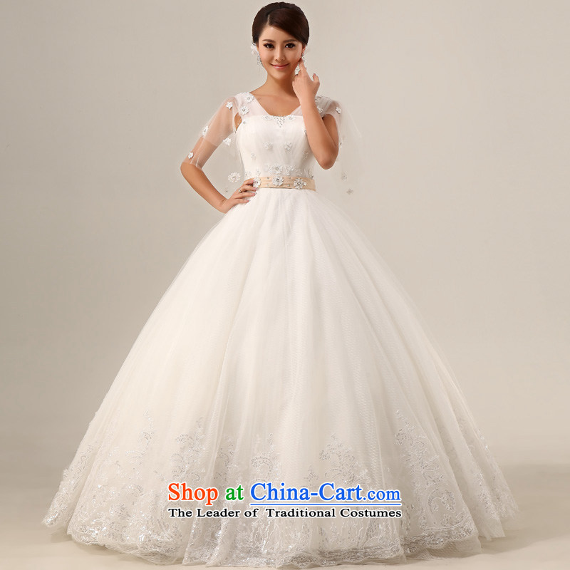 The privilege of serving-leung 2015 new bride straps Korean Top Loin of pregnant women shoulder wedding dresses package for larger custom white�7XL MM thick