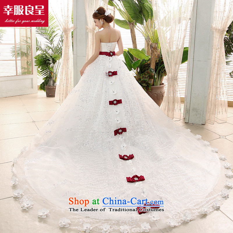 The privilege of serving-leung tail wedding dresses 2015 new marriages Korean sweet Princess Mary Magdalene Chest White - 5 day shipping聽XL-5 day shipping