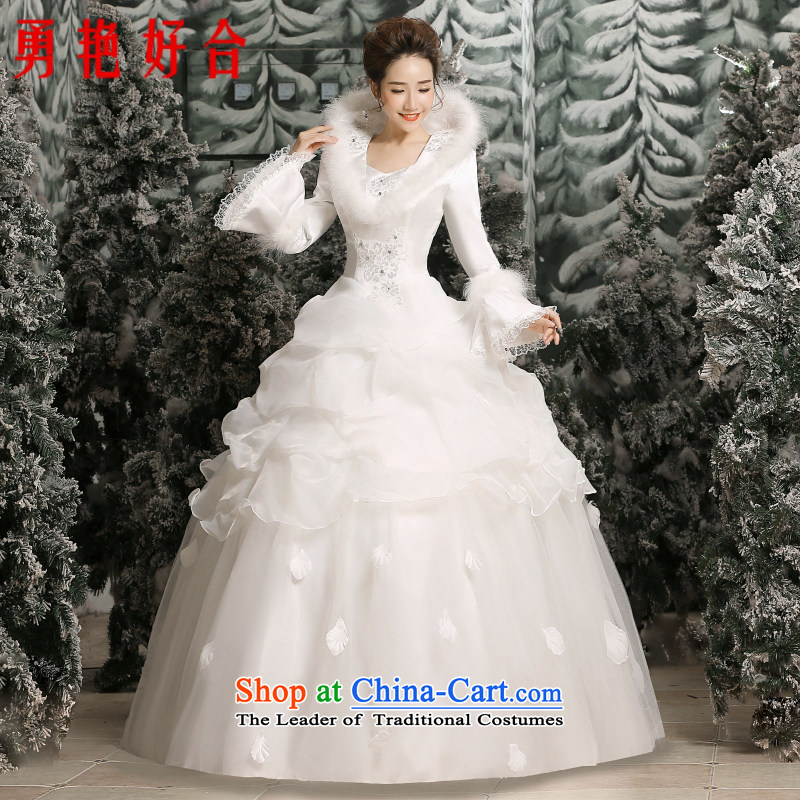 Yong-yeon and wedding winter 2015 new Korean wedding winter long-sleeved gross for thick winter) cotton wedding made no size White Replacement