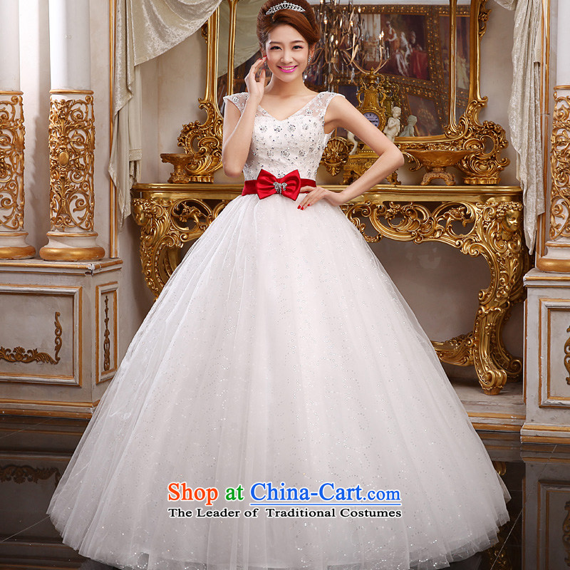 The privilege of serving-leung 2015 new marriages stylish shoulders V-Neck Red Butterfly Garden to align bon bon skirt wedding White?XXL