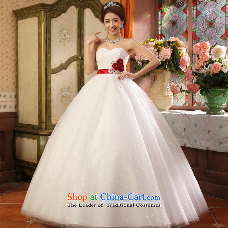 The privilege of serving-leung 2015 new marriages Korean Princess Mary Magdalene chest bon bon skirt flowers to align the wedding dress White XXL
