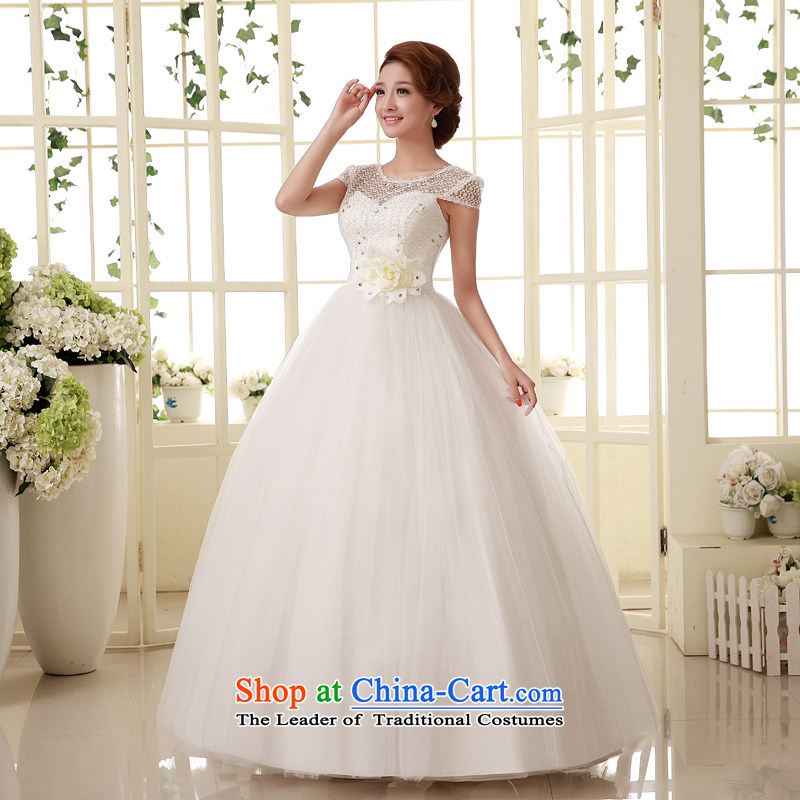 The privilege of serving-leung?2015 new bride princess word to your shoulders back lace video thin wedding dresses custom White?M