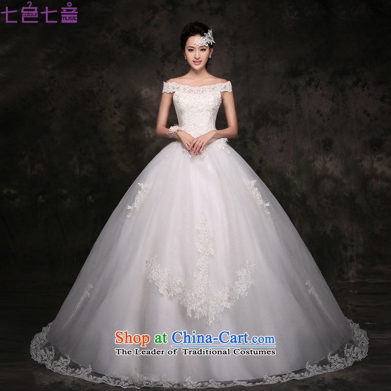 7 Color 7 tone Korean New 2015 wedding dresses video word thin shoulders lace tail marriages bows out of alignment with white H049 M