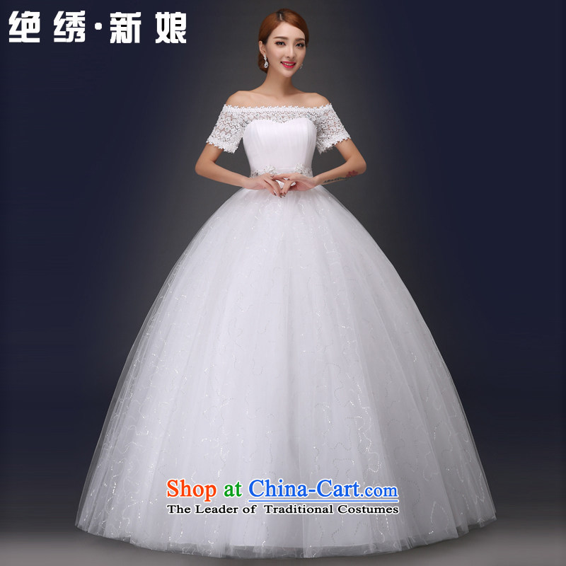 The word is embroidered shoulder wedding dresses 2015 Spring/Summer new marriages Korean lace to align the Sau San bon bon?HS5605 skirt to align, wedding?XXL?2 ft 3 waist Suzhou Shipment
