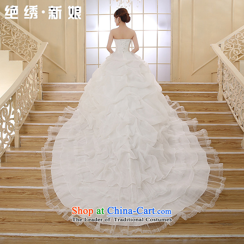 Embroidered is?new and bride 2015 Chest Korean married to align graphics thin stylish integrated with large tail wedding white tailored does not allow