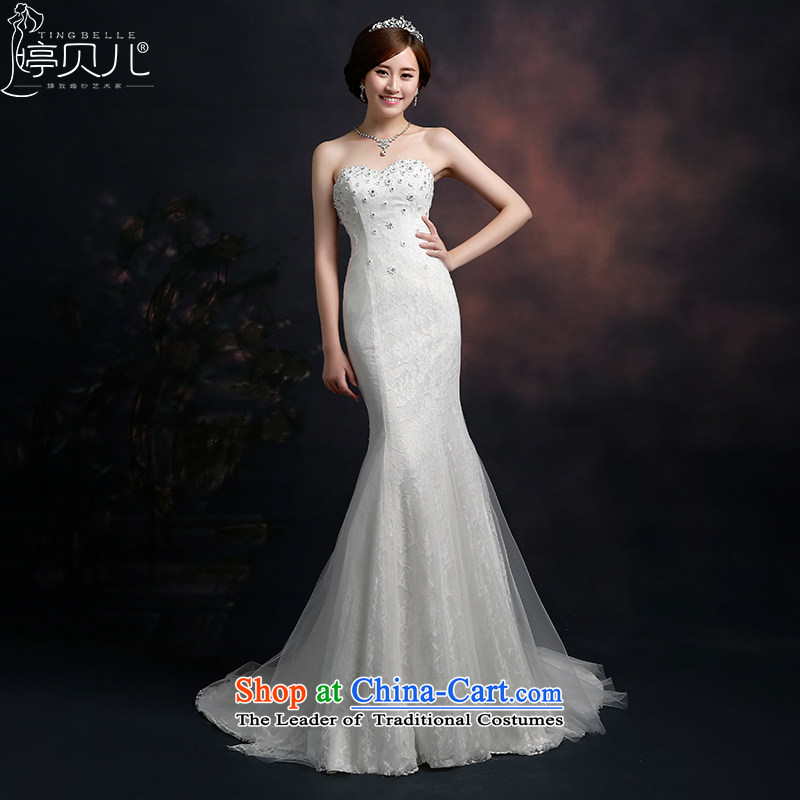 Beverly Ting wedding dresses in spring and summer 2015 new Korean fashion wedding tail crowsfoot wiping the chest straps Sau San video thin large white L