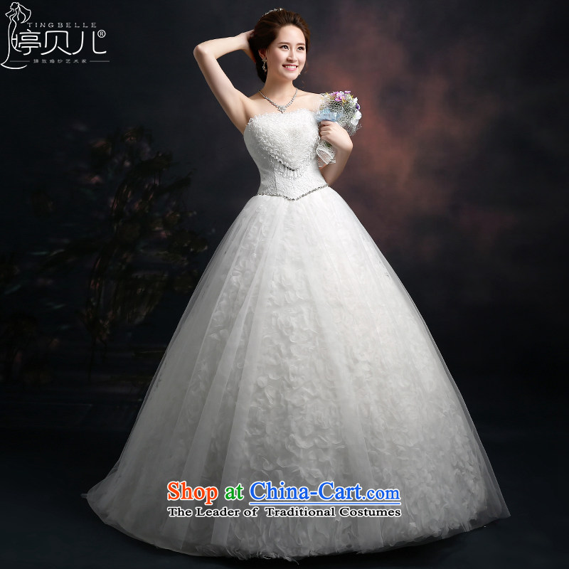Beverly Ting anointed chest wedding dresses New Spring_Summer 2015 new Korean autumn graphics thin stylish large lace wedding align to Sau San strap white M