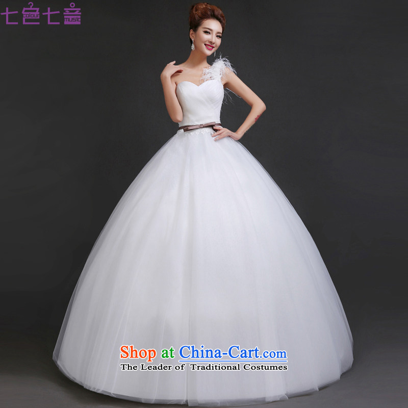 7 Color 7 tone Korean new stylish single 2015 shoulder feather Sau San Video Land align thin bon bon skirt wedding dress�H050�white�L