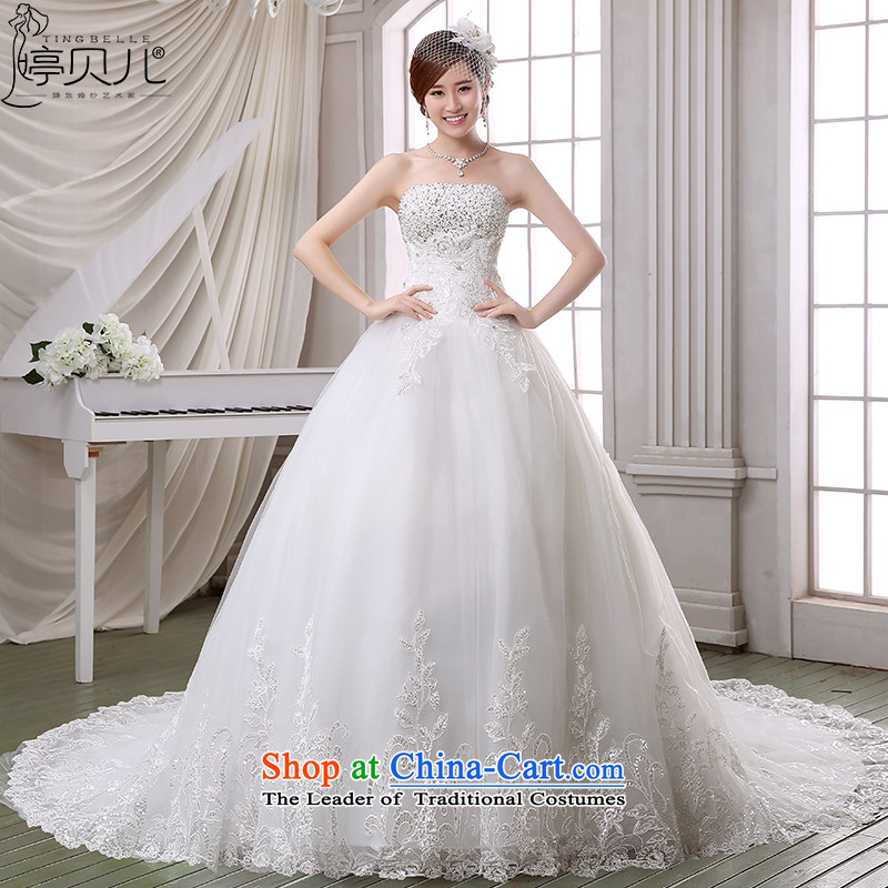 Beverly Ting wedding dresses in spring and summer 2015 new stylish drill anointed chest retro lace long tail Korean style wedding dress Sau San White聽XL