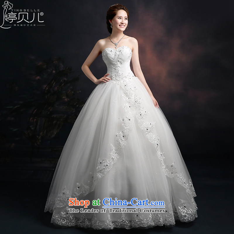Beverly Ting 2015 new spring and summer wedding heart-shaped anointed chest Korean fashion lace wedding dresses Foutune of video thin straps bow tie white L