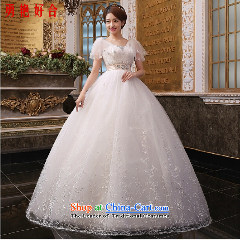Yong-yeon and bride pregnant women wedding new moms 2015 Top Loin of a field shoulder lace Asian layout for larger integrated marriage yarn with white made no refunds or exchanges Size