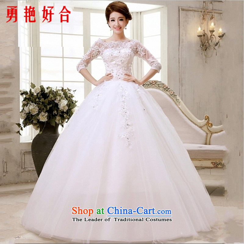 Yong-yeon and wedding dresses new 2015 autumn and winter larger shoulder collar workers in the first field of the Cuff Korean modern marriages align to bind with white made no refunds or exchanges Size