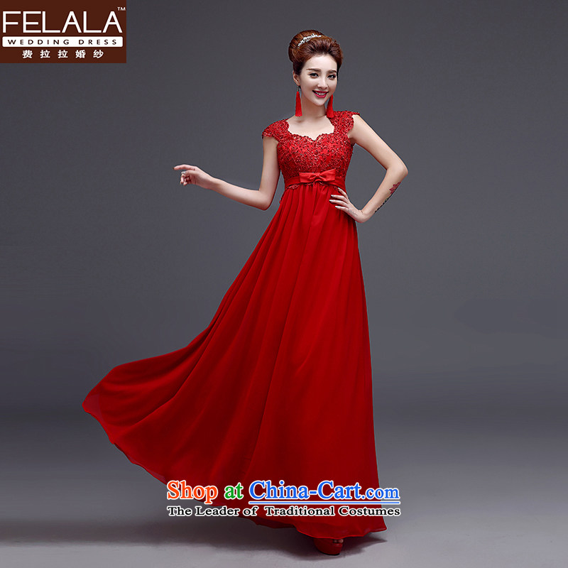 Ferrara evening dresses 2015 new shoulders dress long Korean video thin diamond jewelry Sau San married women serving drink winter new?XL(2 gauge 2