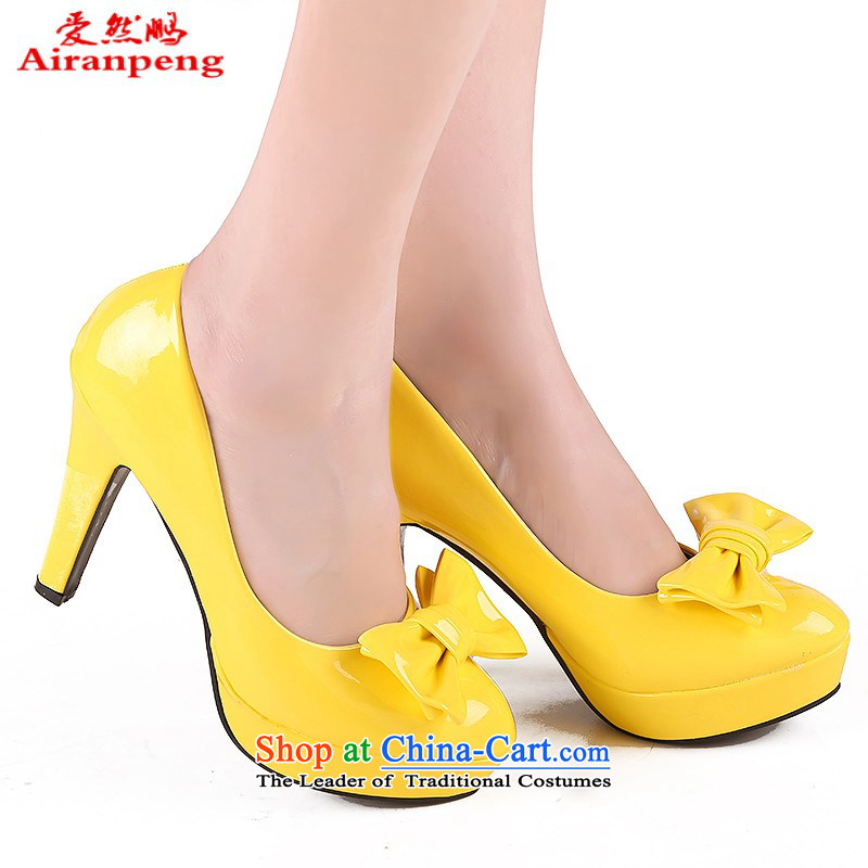 Marriage women shoes Lisa 663, red, white, black, yellow, red and more multi-color by selecting shoes can marry shoes bride shoes of red high-heeled shoes Yellow 36